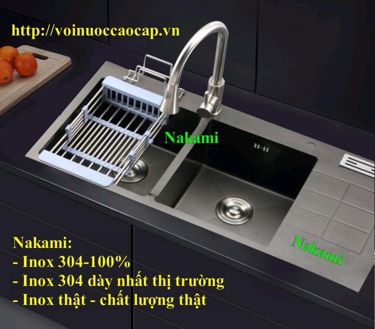 Chậu Rửa Chén Inox 304 Đúc Phủ Nano đen Nakami NAC-1010