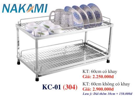 KỆ CHÉN BÁT INOX 304 ĐA NĂNG - 2 TẦNG CAO CẤP NAKAMI KC-01