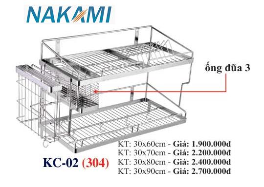 KỆ CHÉN BÁT INOX 304 ĐA NĂNG - 2 TẦNG CAO CẤP NAKAMI KC-02