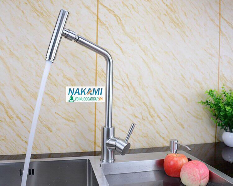 Vòi rửa chén bát Inox 304 cao cấp Nakami VC-6006