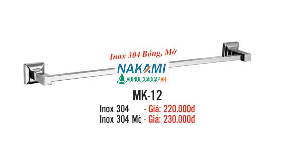 MÁNG KHĂN ĐƠN INOX 304 CAO CẤP NAKAMI MK-12